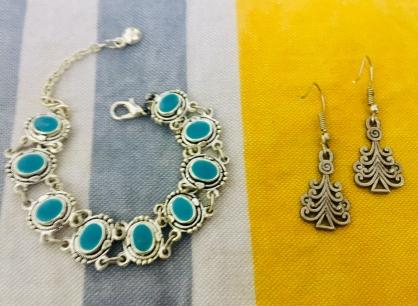 Bracelet and earrings made of Berber Silver